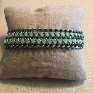 Jewelry - Silver & mint green layered bracelet